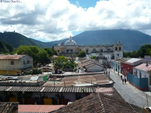 View of San Francisco Church and Agua Volcano