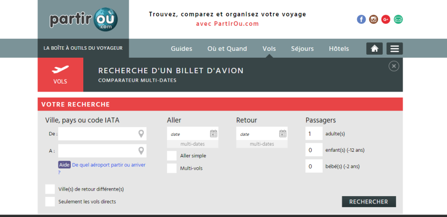 Screenshot. Partirou.fr