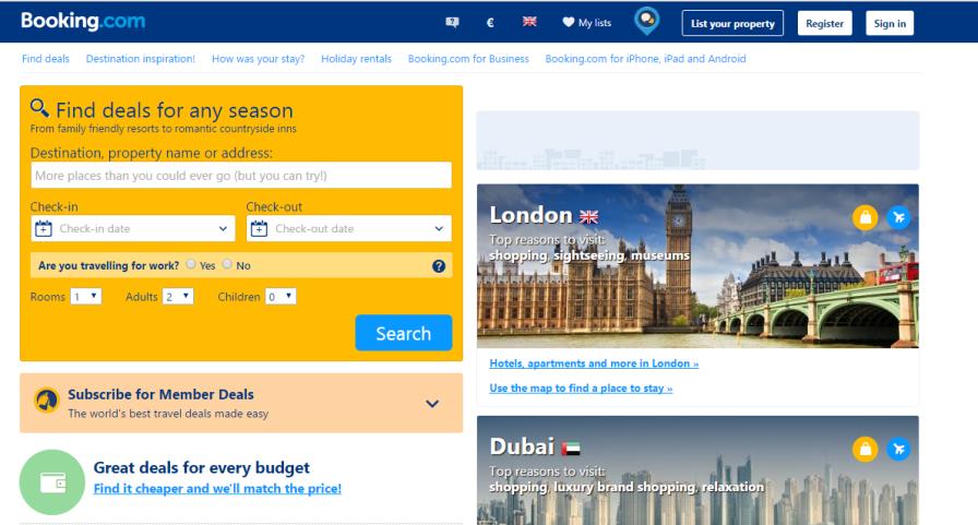 Screenshot: Booking.com
